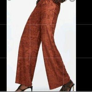 Zara jacquard rust palazzo flowy pants S